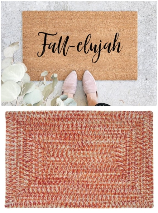 "Layered rug look featuring ""Fall-elujah"" doormat and Winston Porter Hawkins Fireball area rug."