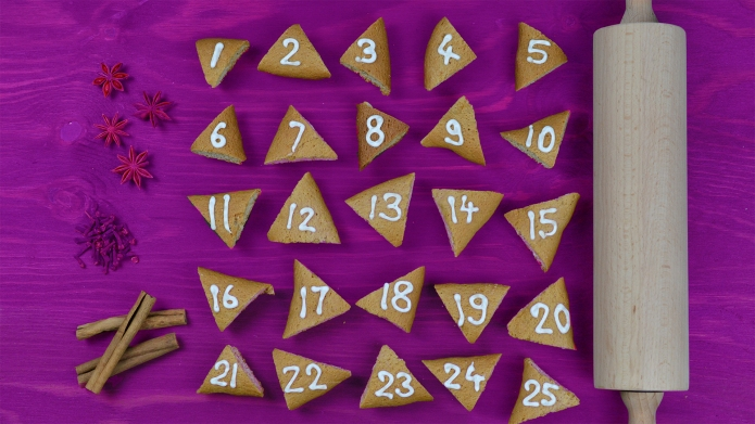 square of twenty five numbered advent