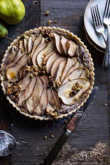 Caramelized Pear and Hazelnut Crumble Tart