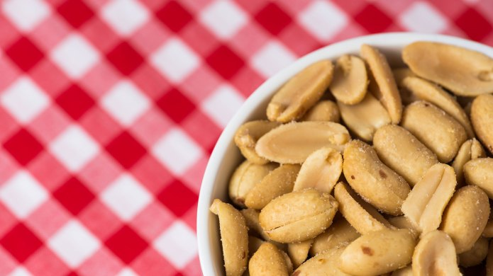 Shelled peanuts in a bowl on
