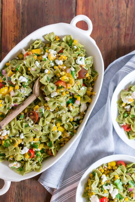 Summer Corn and Goat Cheese Pasta Salad