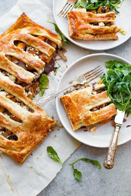 Butternut Squash Pie with Shallots, Radicchio, and Feta
