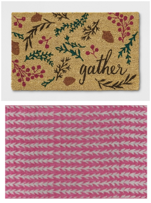 Layered doormat look featuring Target's leaf tufted doormat and Novogratz's Amalfi rug.