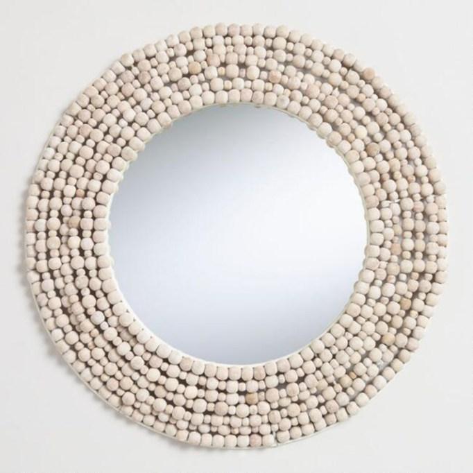 Round White Bead Mirror
