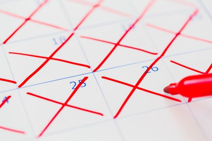 Days crossed off a calendar