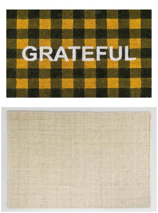 "Layered rug look featuring Novogratz by Momeni ""Grateful"" doormat and bleached basket weave jute rug."