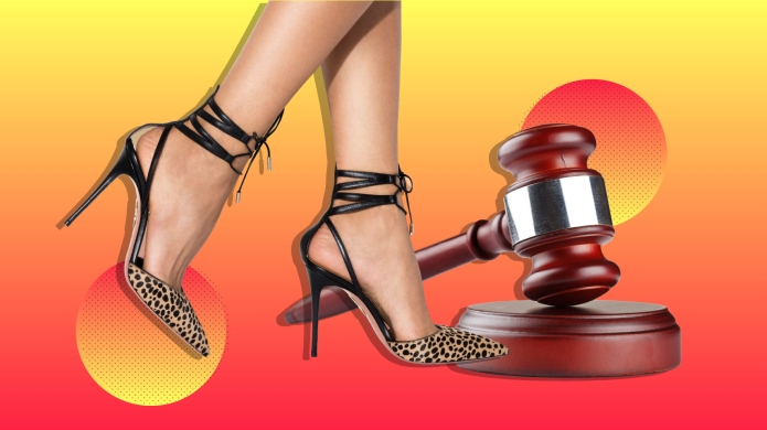 Woman wearing leopard high heels next