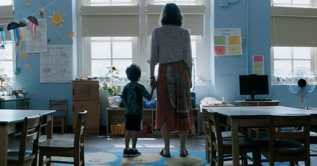 Still of Maggie Gyllenhaal and Parker Sevak in 'The Kindergarten Teacher'