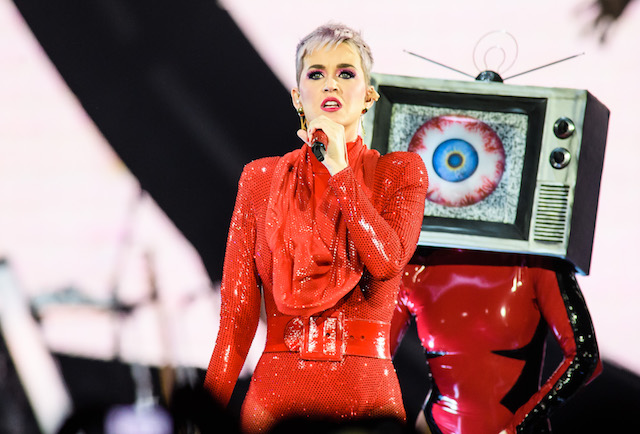 Katy Perry performs live on stage during a concert at Mercedes-Benz Arena