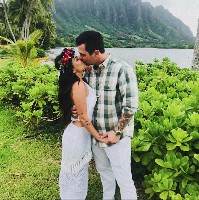 Wedding day photo of Janel Parrish and Chris Long