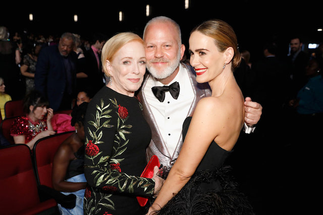 Photo of Holland Taylor, Ryan Murphy & Sarah Paulson at the 70th Annual Emmy Awards