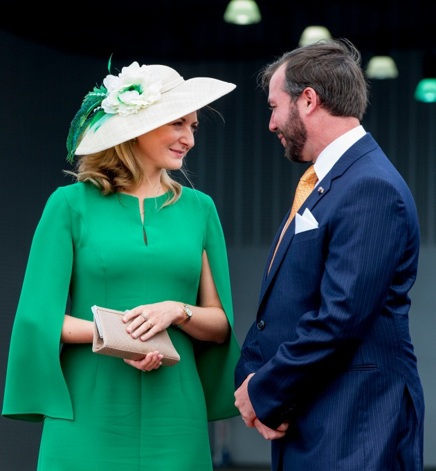 Hereditary Grand Duke Guillaume and Hereditary Grand Duchess Stephanie at the airport of Luxembourg on May 23, 2018