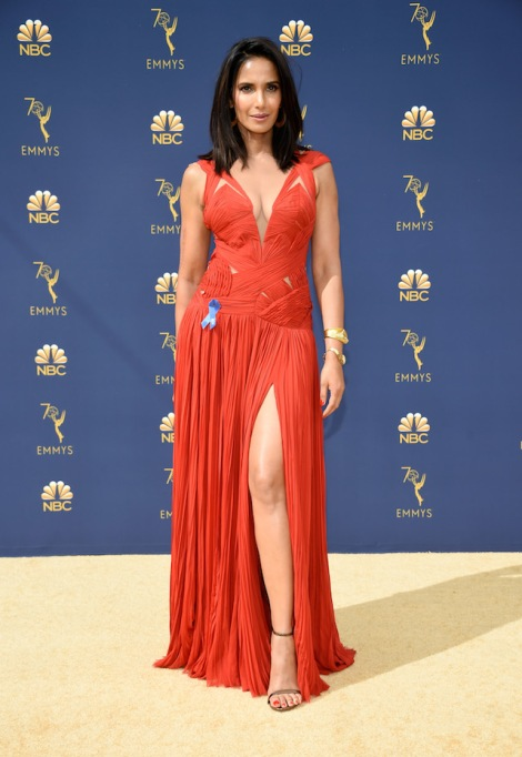 Padma Lakshmi attends the 70th Emmy Awards at Microsoft Theater