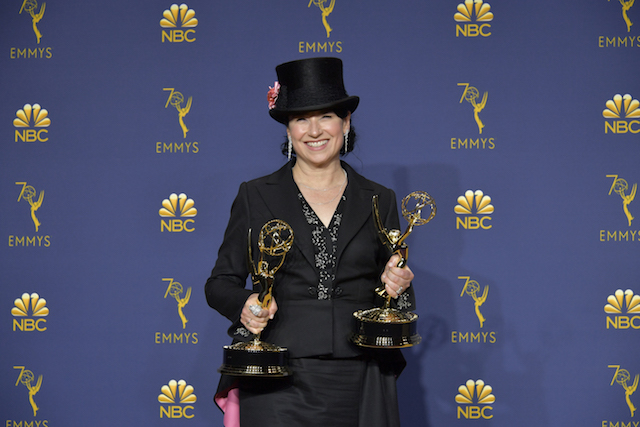 Amy Sherman-Palladino accepts the outstanding directing for a comedy series award for 'The Marvelous Mrs. Maisel' during the 70th Emmy Awards