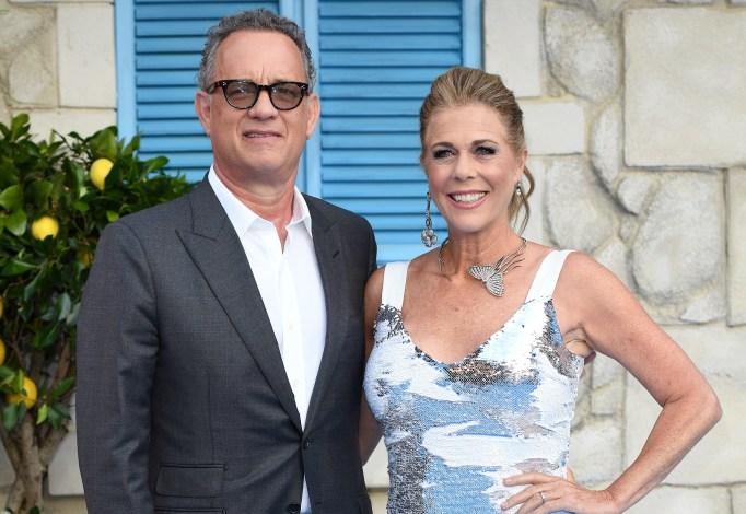 Tom Hanks and Rita Wilson attend the World Premiere of 'Mamma Mia! Here We Go Again' at Eventim Apollo