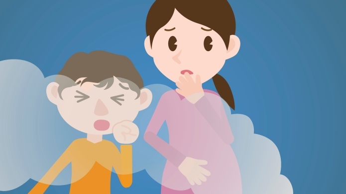 pregnant woman and son coughing air