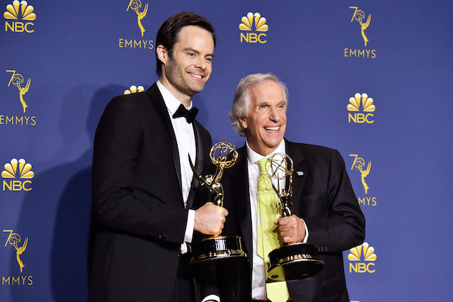Outstanding supporting actor in a comedy series winner Henry Winkler poses in the press room during the 70th Emmy Awards at Microsoft Theater