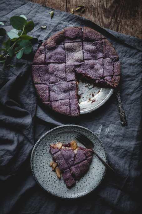 Apple Pie with Purple Blueberry Crust