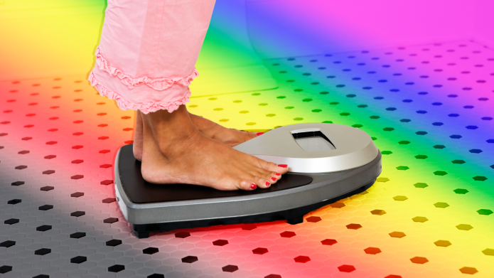 Woman standing on scale on a