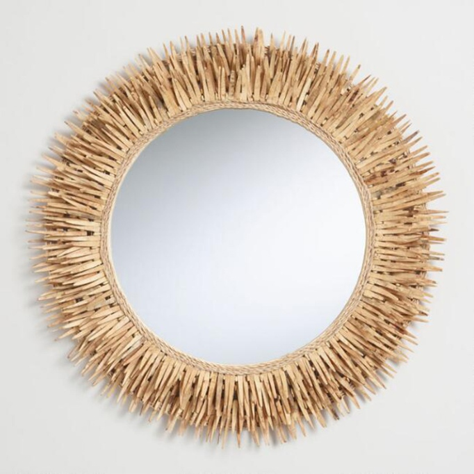 Round Coconut Shell Wall Mirror