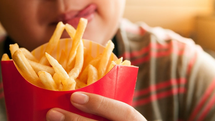 photo of kid holding french fries