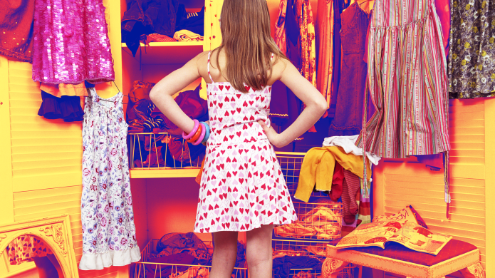 Preteen Girl in Dress Deciding What
