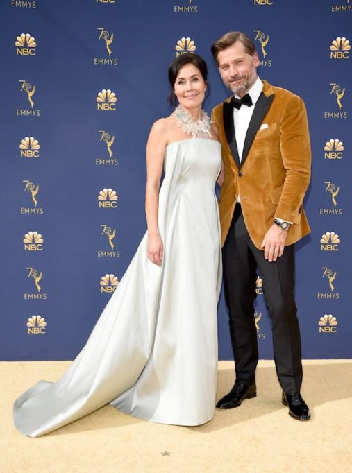 Nukaaka Coster-Waldau and Nikolaj Coster-Waldau attend the 70th Emmy Awards