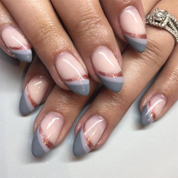 Grey and rose gold tips