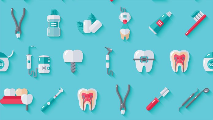 Assortment of dental tools and teeth