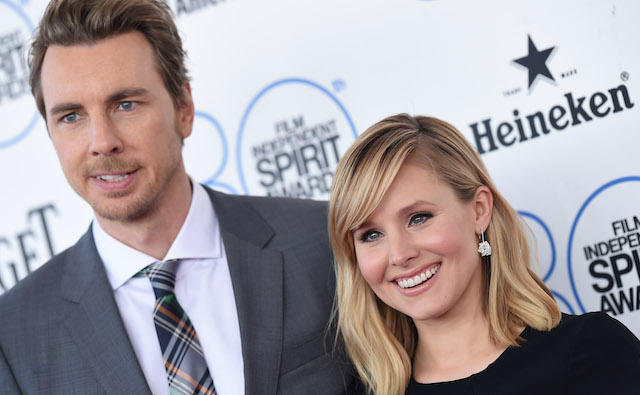 Dax Shepard and Kristen Bell arrive at the 2015 Film Independent Spirit Awards on February 21, 2015, in Santa Monica, California.