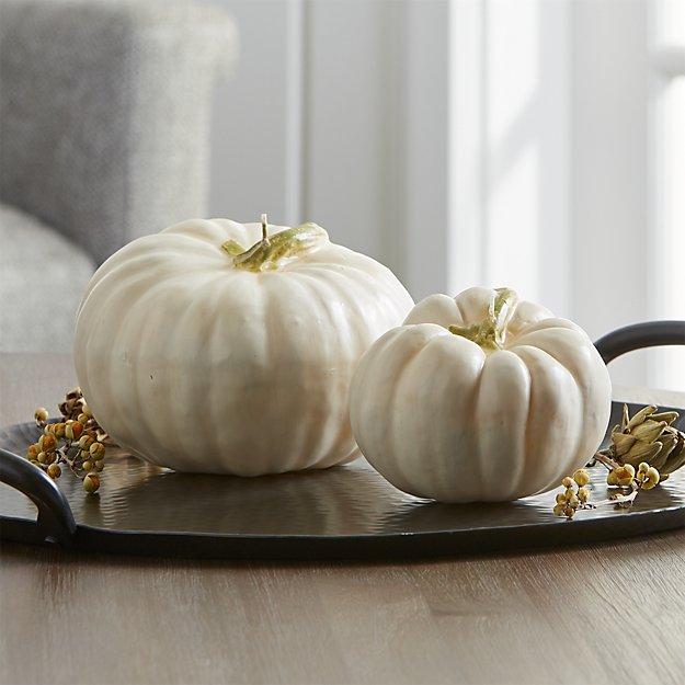 white pumpkin candles