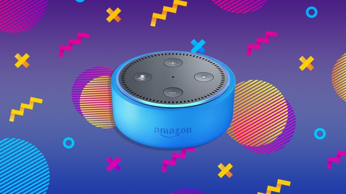 Blue Amazon Echo on a colorful