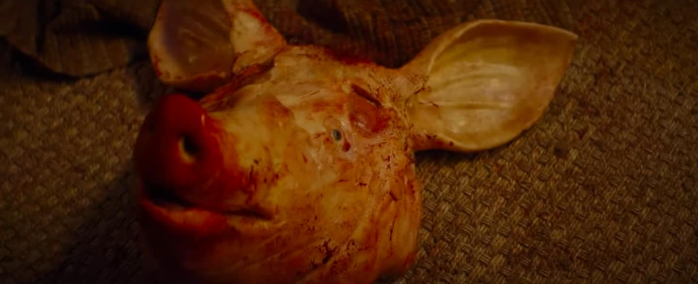 Still of a pig's head from the 'Tell Me A Story' Trailer
