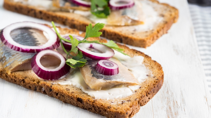 Danish open sandwich smorrebrod with salted
