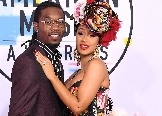 Cardi B, Offset arrives at the 2018 American Music Awards at Microsoft Theater