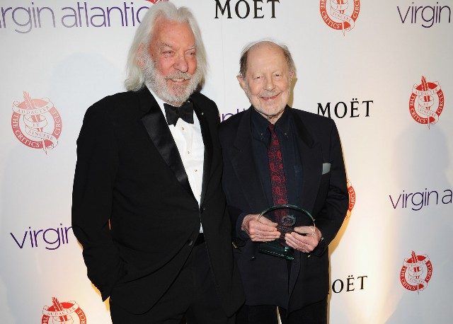 Donald Sutherland poses with Nicolas Roeg, winner of the The Dilys Powell Award for Excellence in Film during the London Film Critics' Circle Awards at BFI Southbank