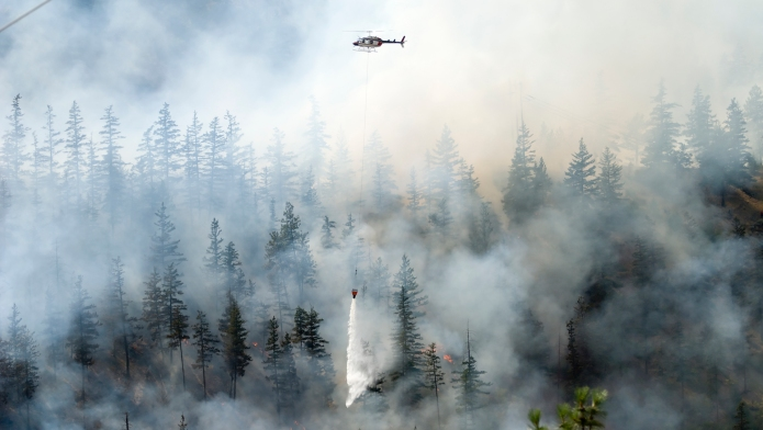 Aerial firefighting for a forest fire