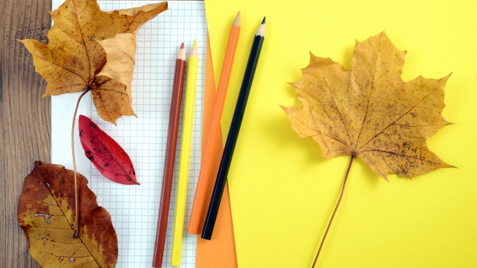 Crafts with Autumn Leaves. Painting maple