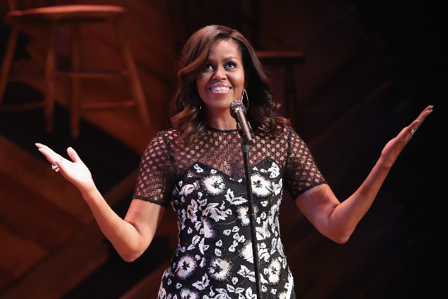 First lady Michelle Obama speaks to fellow first ladies and students at the Jacobs Theater on September 19, 2016, in New York City.