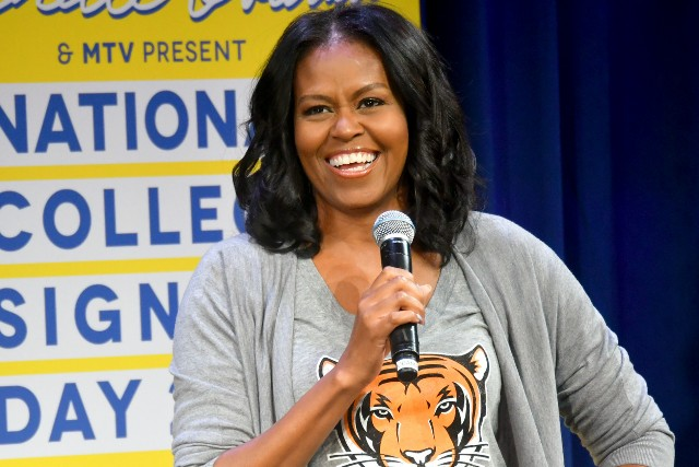 Michelle Obama speaks onstage during MTV's 2017 College Signing Day With Michelle Obama