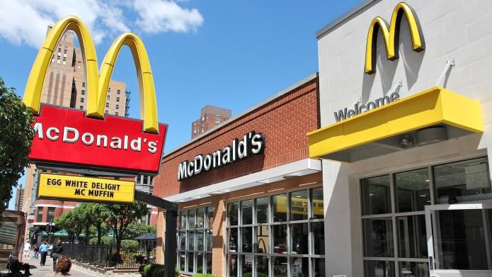 Chicago: People walk by McDonald's restaurant