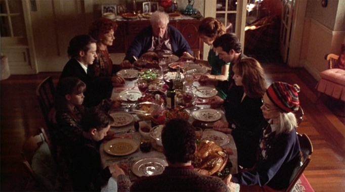A table full of noted actors populates 1995's 'Home for the Holidays'