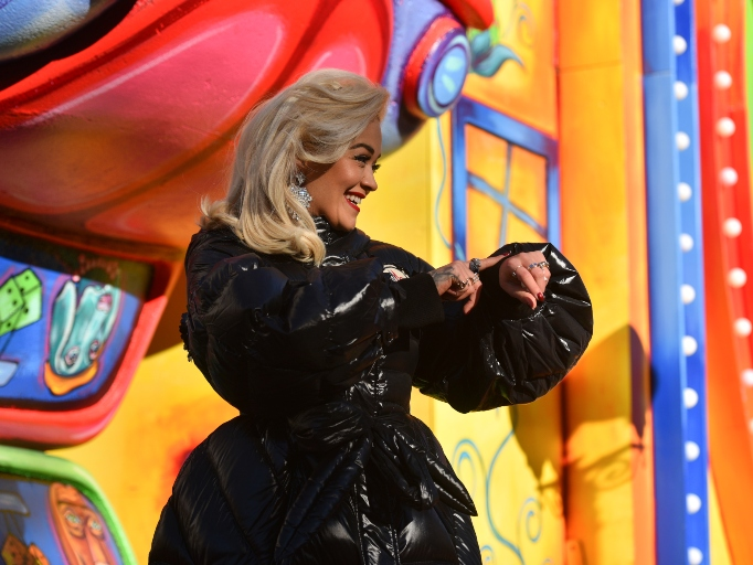 Rita Ora rides in the 92nd Annual Macy's Thanksgiving Day Parade on November 22, 2018