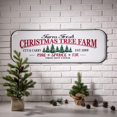 Enamel Christmas tree farm sign.