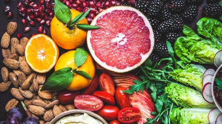 An assortment of colorful fruits and