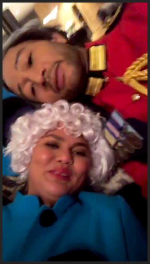 Chrissy Teigen and John Legend dress as British monarchs for Halloween
