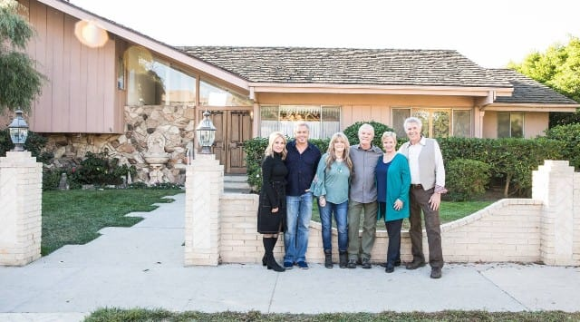 The cast of 'The Brady Bunch' outside the iconic ranch house