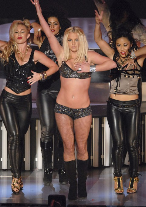 "Britney Spears performs ""Gimme More"" at the 2007 Video Music Awards at the Palms Casino Resort on August 9, 2007, in Las Vegas, Nevada."