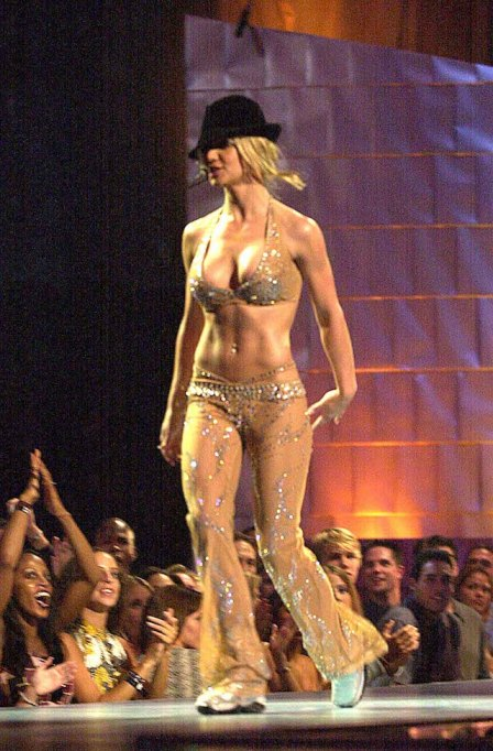 Britney Spears during MTV VMA 2000 on stage at Radio City Music Hall in New York City.