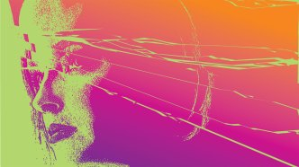 Woman with shattered face.